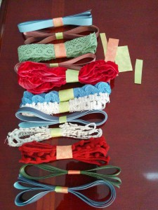 ribbon secured with scrapbook paper scraps