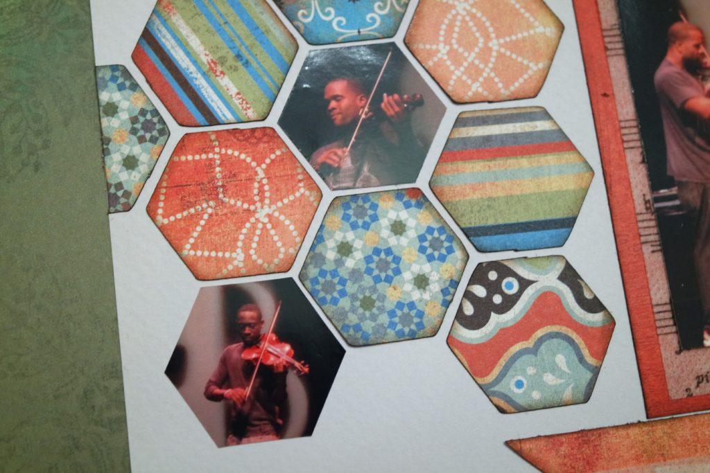 Black Violin scrapbook layout featuring hexagons from Accent Essentials Cricut cartridge